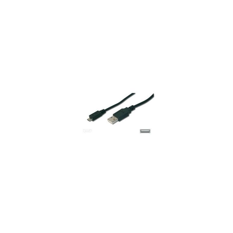EWENT ASSMANN Electronic A/micro-B 3m cavo USB USB 2.0 USB A Micro-USB B Nero