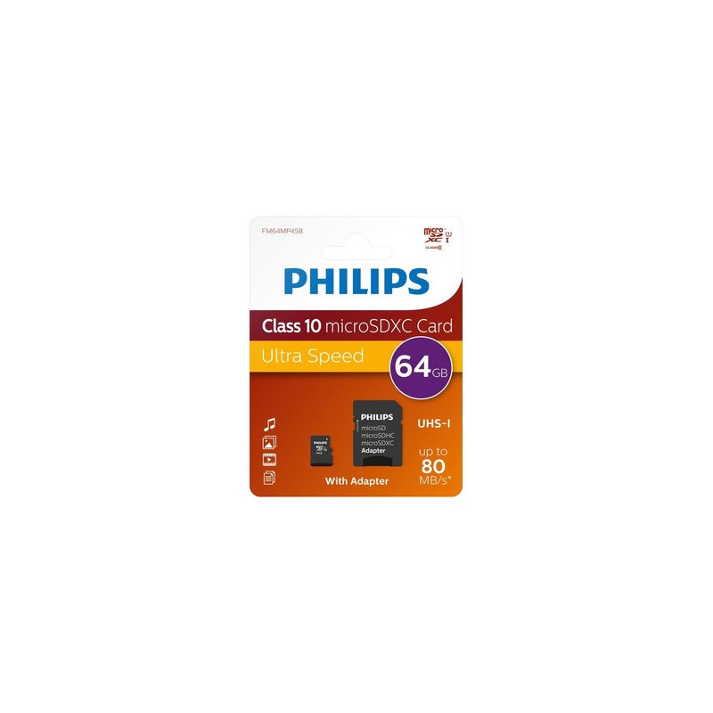 Philips FM64MP45B/10 64 GB MicroSDHC Classe 10 UHS-I